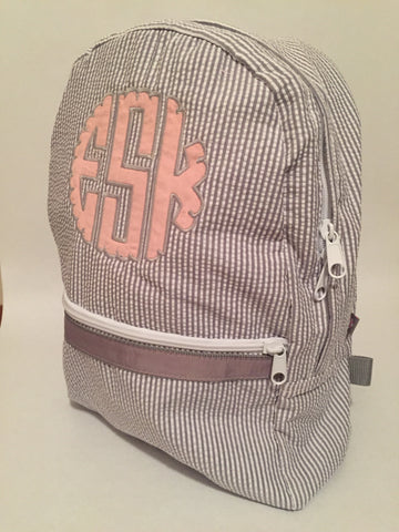 Gray Seersucker Medium Backpack - Sweet as Jelly