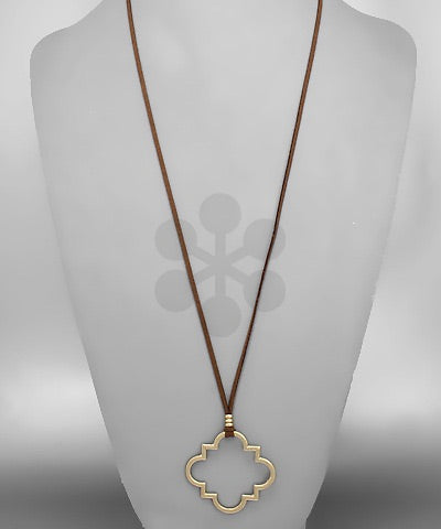 Gold Quatrefoil Drop Necklace on Brown Suede Adjustable Chain - Sweet as Jelly