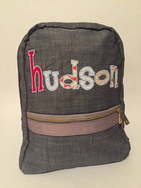 Small Gray Chambray Backpack - Sweet as Jelly