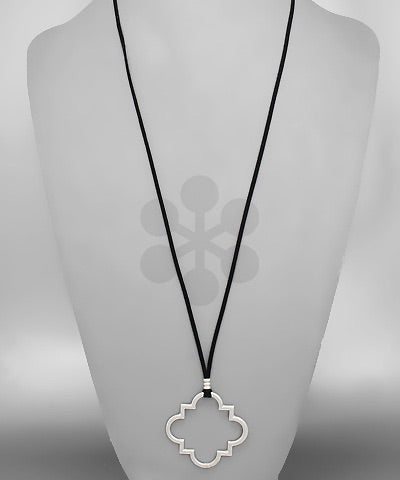 Silver Quatrefoil Drop Necklace on Black Suede Adjustable Chain - Sweet as Jelly