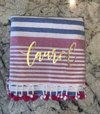 pink and blue striped beach towel with pink pom poms - Sweet as Jelly