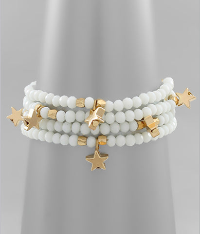 White Beaded Gold Star Bracelet
