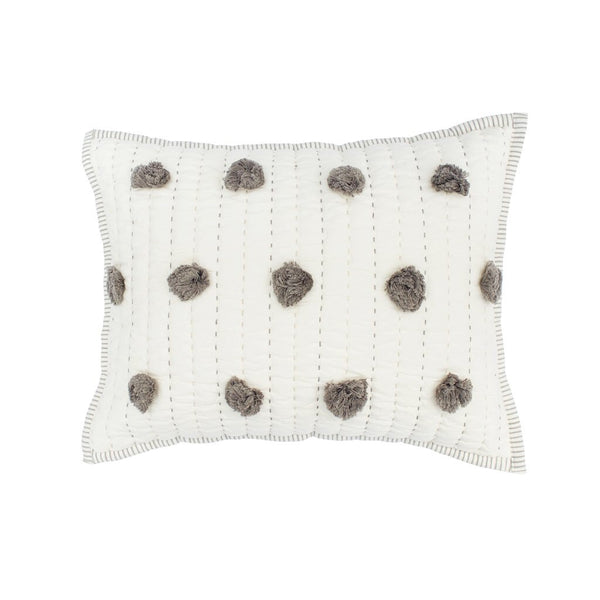 Gray pom pom pillow - Sweet as Jelly