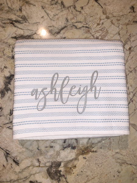 Blue striped turkish towel