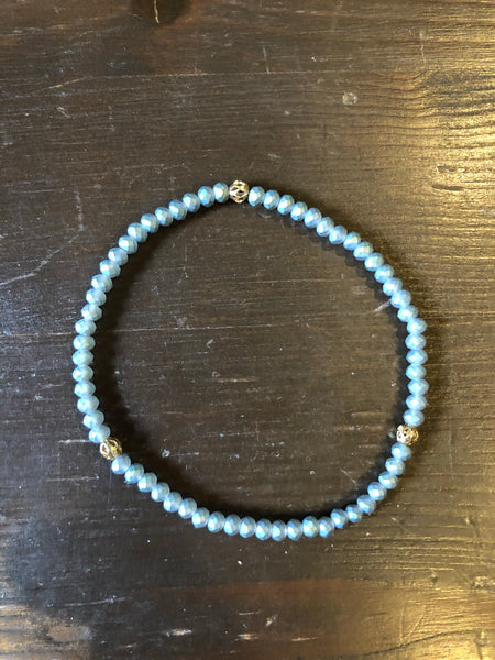 Blue Beaded Dainty Bracelet