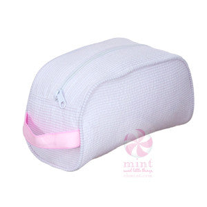 Pink Seersucker Makeup Bag - Sweet as Jelly