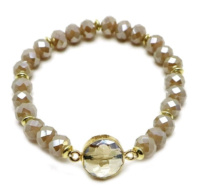 Brown Crystal Stretch Bracelet with Clear Stone Accent - Sweet as Jelly