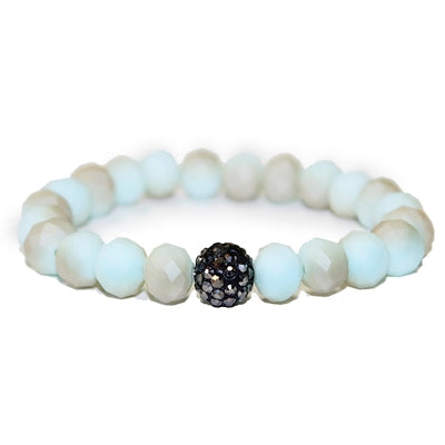 Mint Crystal with Pave Stone Stretch Bracelet - Sweet as Jelly