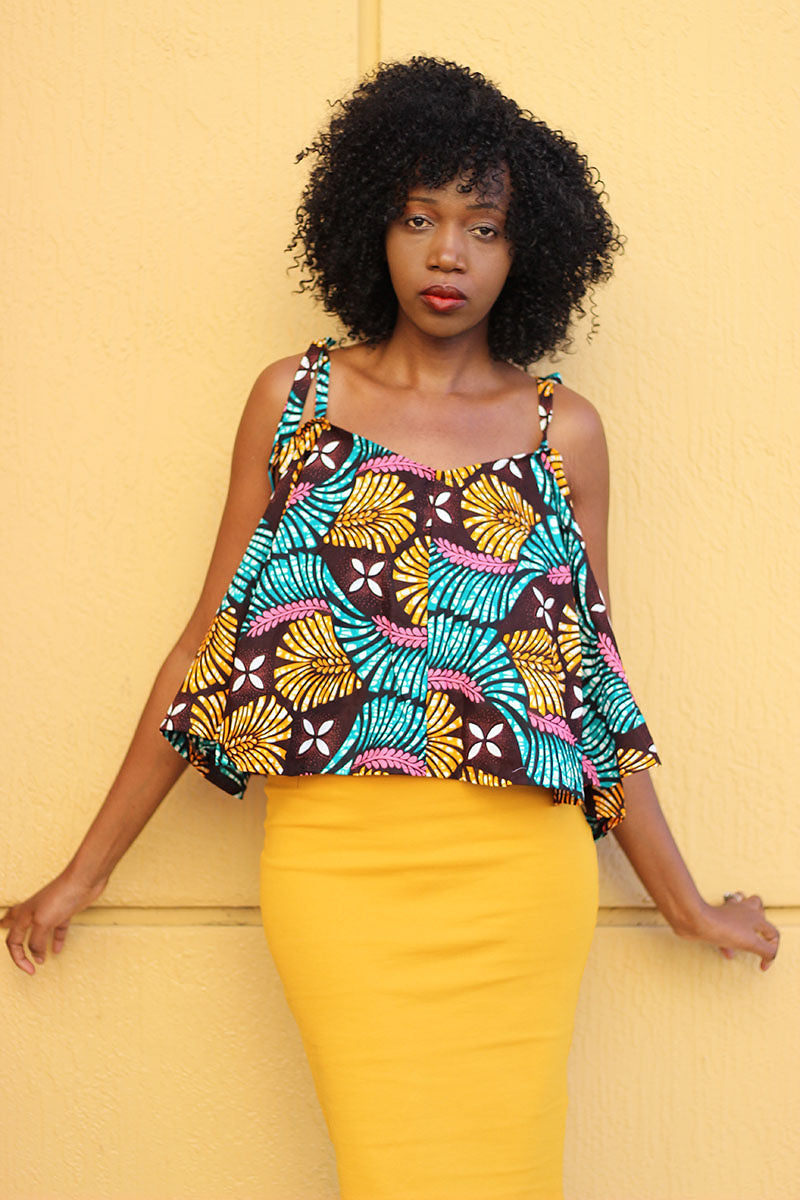 African Print Strap Flare Tawi Top - Bargardy/Green/Mustard & Pint Leaf  Prin - Africas Closet