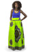 African Maxi Skirt - Dashiki Lime Green Blue Brown - Africas Closet