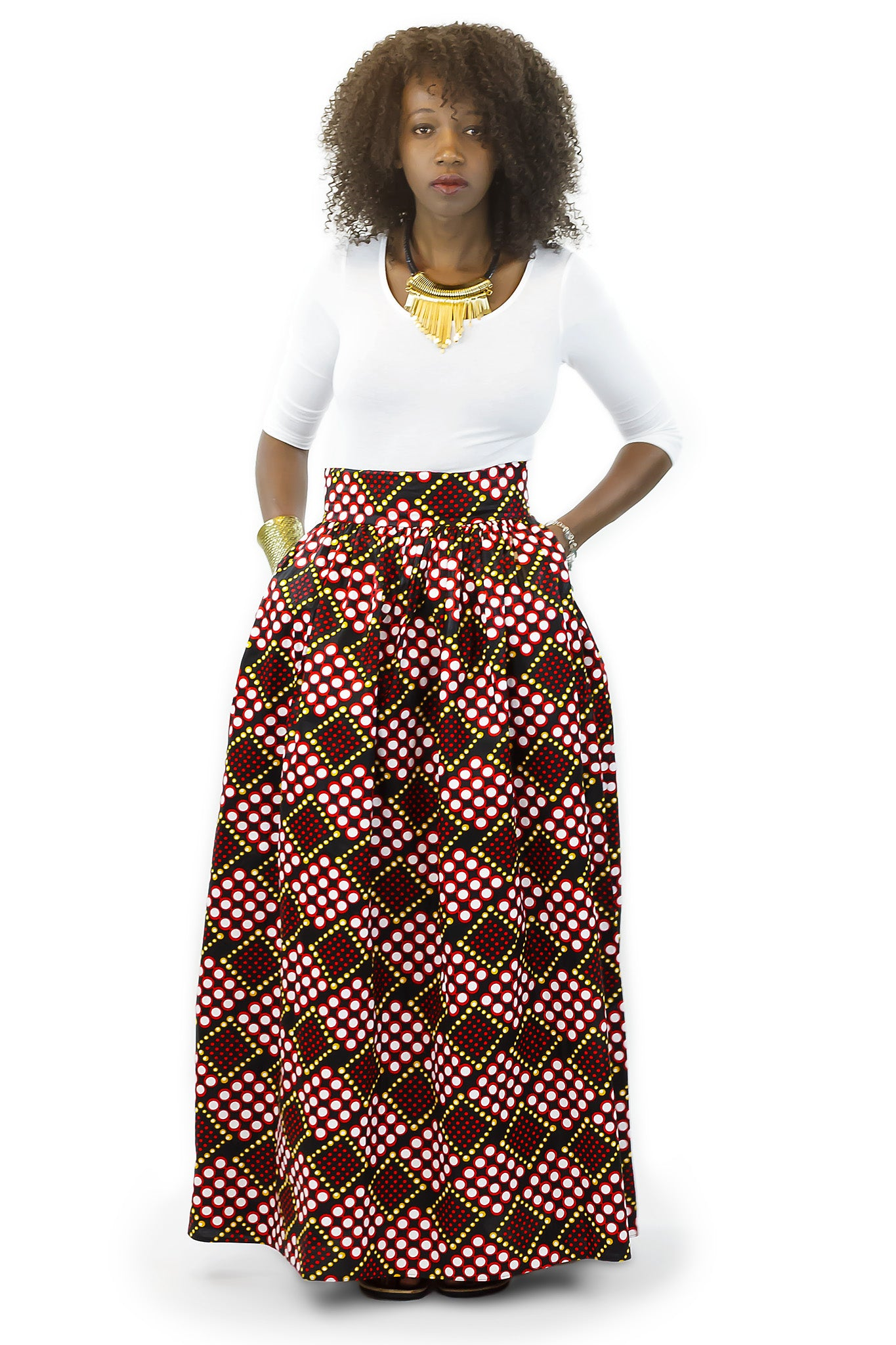 African Print Maxi - Dice Print Red, Black and White - Africas Closet