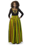 African Maxi Skirt - Wave Pattern Green and Black - Africas Closet