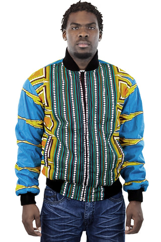 African Bomber Jacket - Blue Yellow Geometric Prints.