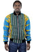 African Bomber Jacket - Blue Yellow Geometric Prints. - Africas Closet