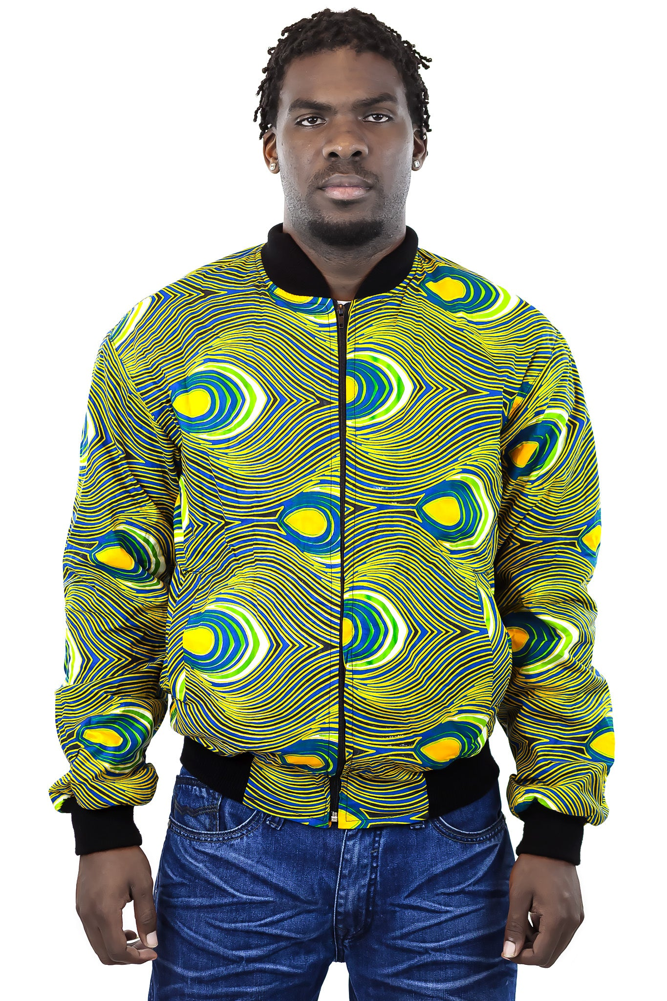African Bomber Jacket - Blue Green with Yellow Teardrop print - Africas Closet
