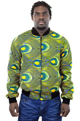 African Bomber Jacket - Blue Green with Yellow Teardrop print