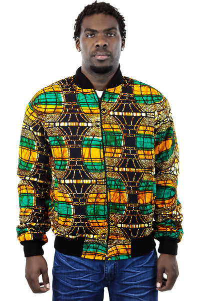 African Bomber Jacket - Green Orange Brown Curves Print - Africas Closet