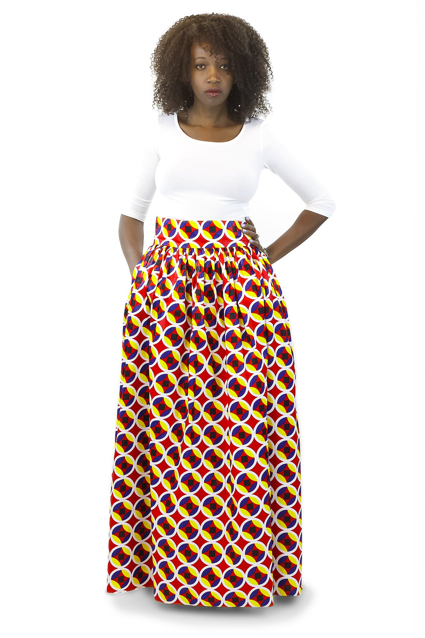 African Maxi Skirt - Concentric Print Red, White and Yellow - Africas Closet