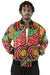 African Bomber Jacket - Blue/Red Swirl Print - Africas Closet