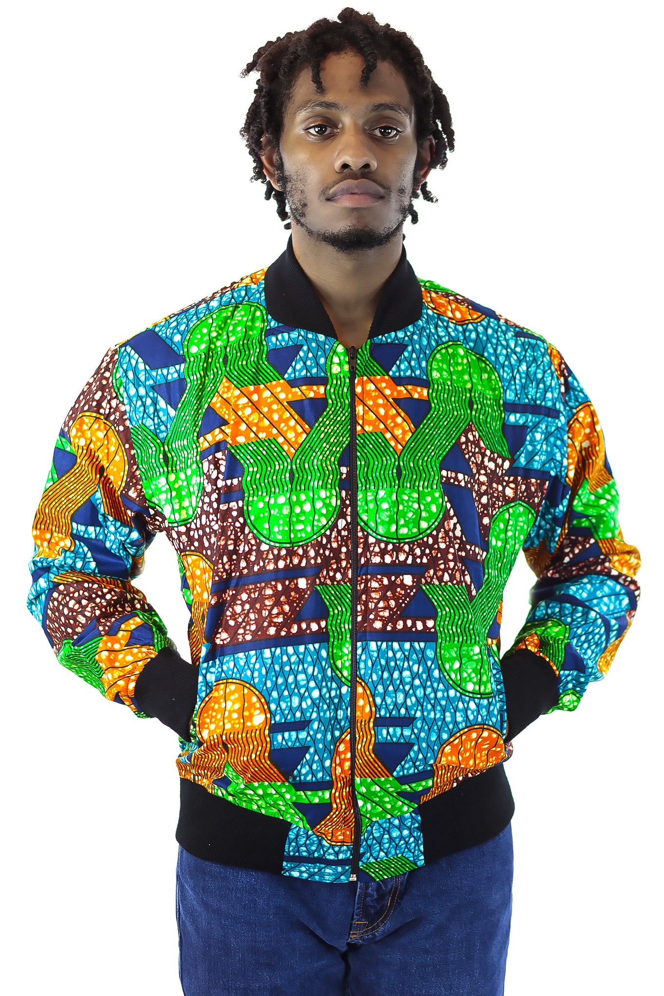African Bomber Jacket - Green/Blue/Orange Geometric print - Africas Closet