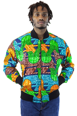African Bomber Jacket - Green/Blue/Orange Geometric print