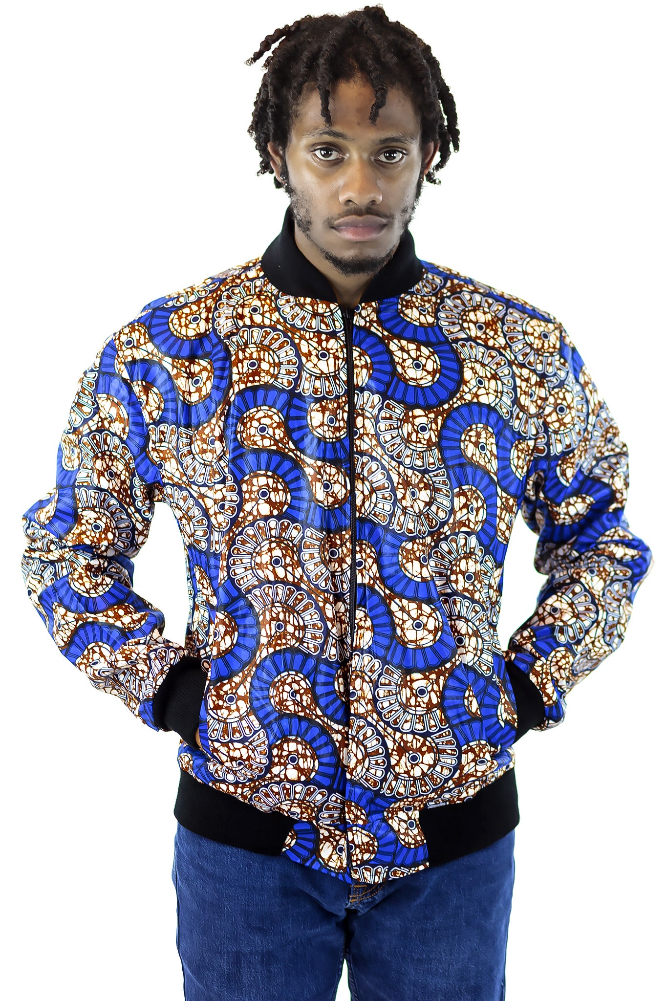 African Bomber Jacket - Blue/White Geometric print - Africas Closet