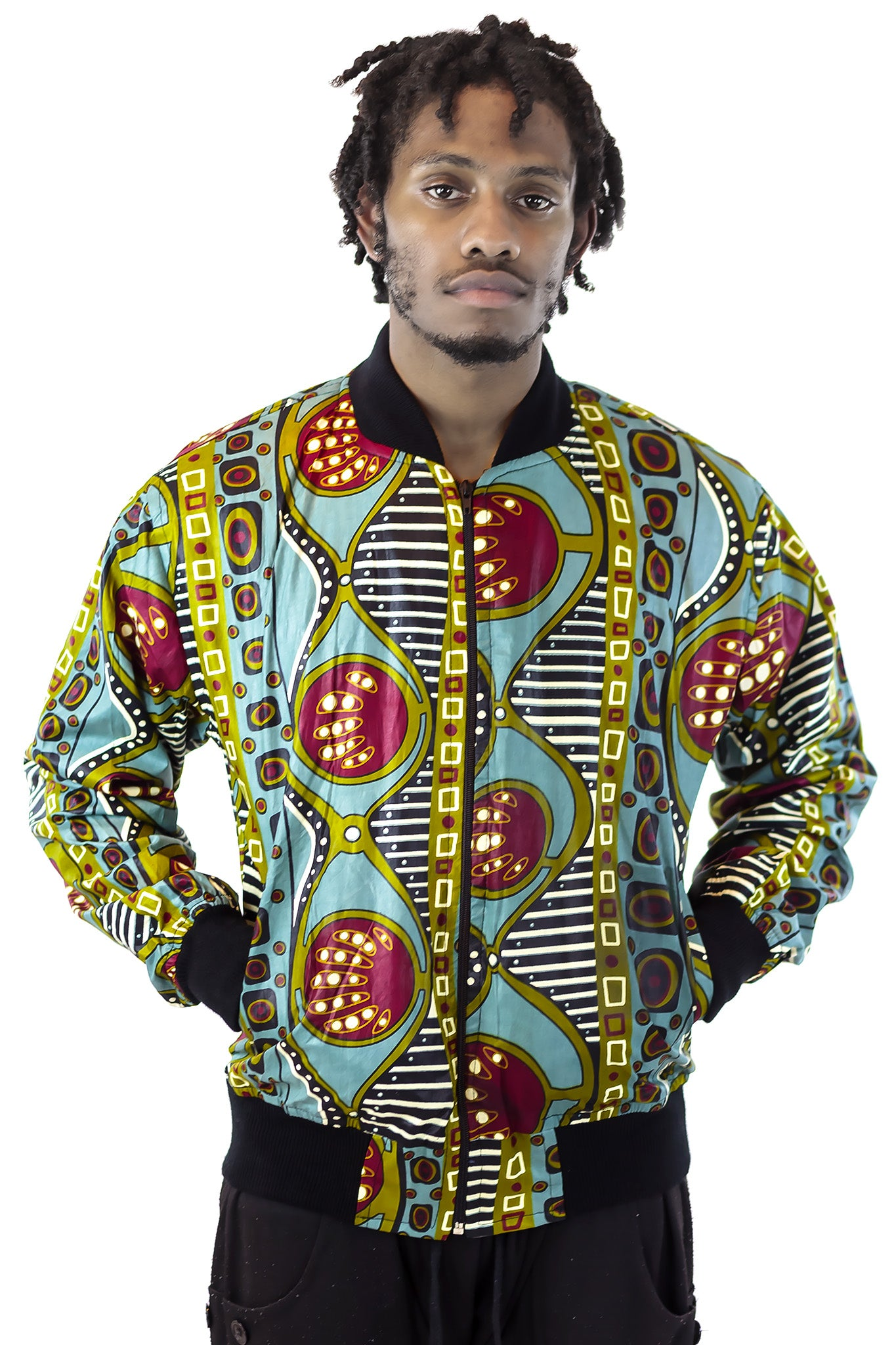 African Bomber Jacket - Jungle Green/Maroon Geometric print - Africas Closet