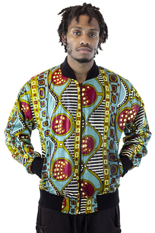 African Bomber Jacket - Jungle Green/Maroon Geometric print