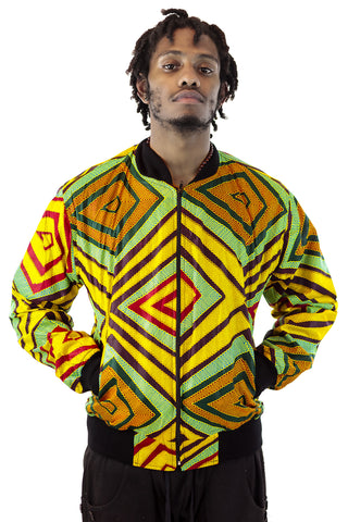 African Bomber Jacket  -Lime Green/Gold Geometric Print