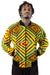 African Bomber Jacket  -Lime Green/Gold Geometric Print - Africas Closet