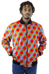 African Bomber Jacket - Red/Navy Blue Geometric Print - Africas Closet