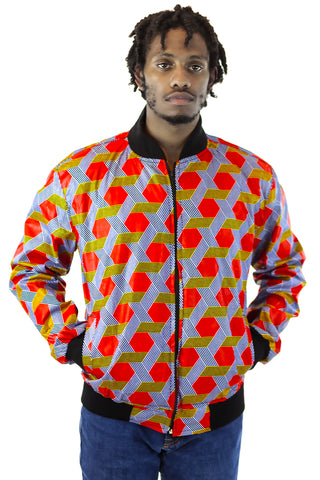 African Bomber Jacket - Red/Navy Blue Geometric Print