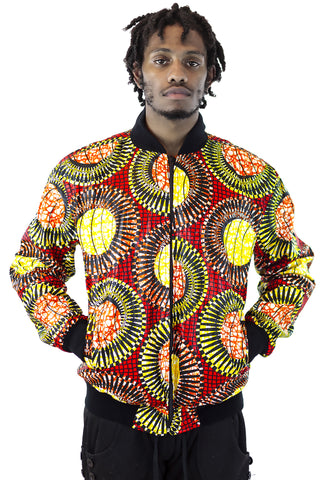 African Bomber Jacket - Red/Yellow Concentric Print