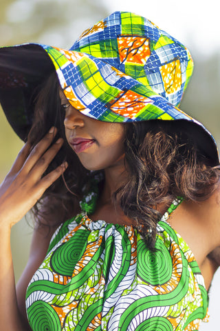 African Print Hat-Green/Orange checker print