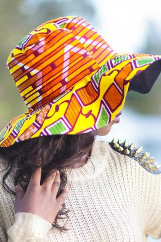 African Print Beach Hat - Orange/Yellow Geometric Print