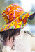 African Print Beach Hat - Orange/Yellow Geometric Print - Africas Closet