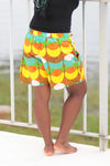 African Print/Kitenge  Beach Shorts-Duo Prints(Yellow/Teal/Orange Print) - Africas Closet