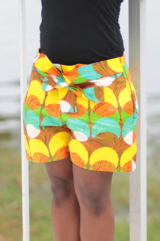 African Print/Kitenge  Beach Shorts-Duo Prints(Yellow/Teal/Orange Print)