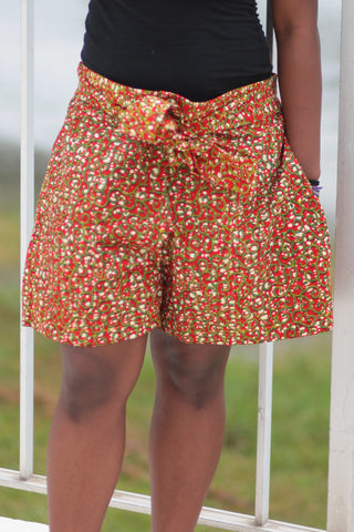 African Print/Kitenge  Beach Shorts-Red/Green Floral Print