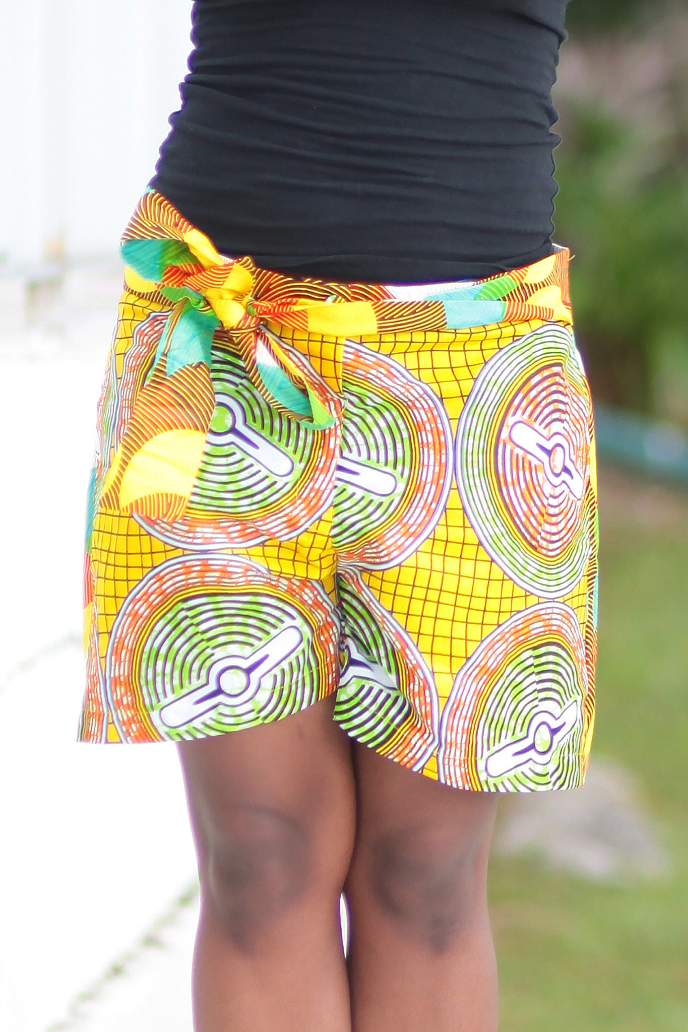 African Print/Kitenge  Beach Shorts-Double Sided Shorts Circles Yellow ,Green and Orange Print - Africas Closet