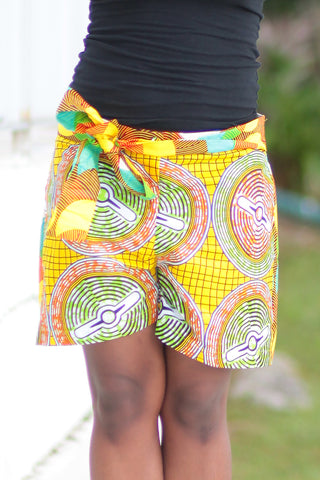 African Print/Kitenge  Beach Shorts-Double Sided Shorts Circles Yellow ,Green and Orange Print