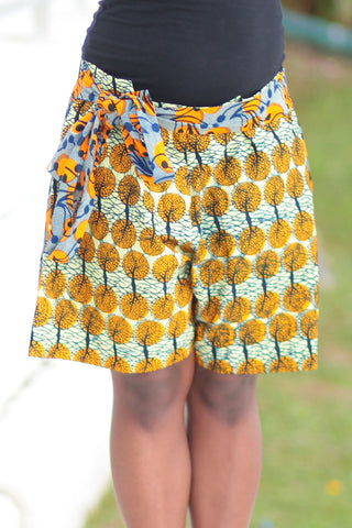 African Print/Kitenge  Beach Shorts-Duo Prints (Blue/Orange Floral Print)