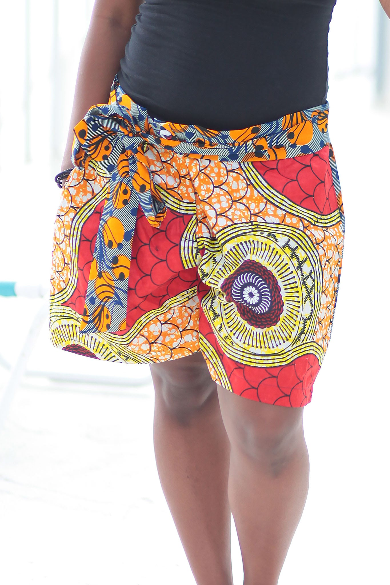 African Print/Kitenge  Beach Shorts- Red/Orange Double Sided Shorts Geometric Print - Africas Closet