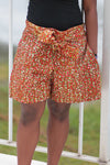 African Print/Kitenge Beach Shorts-Double Sided Shorts Red and White Spotted Print - Africas Closet