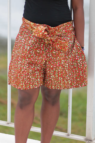 African Print/Kitenge Beach Shorts-Double Sided Shorts Red and White Spotted Print