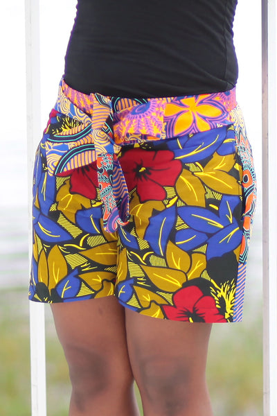 African Print/Kitenge  Beach Shorts-Red/Blue/Gold Double Sided Shorts Geometric Flowers - Africas Closet