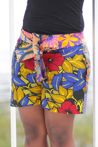 African Print/Kitenge  Beach Shorts-Red/Blue/Gold Double Sided Shorts Geometric Flowers
