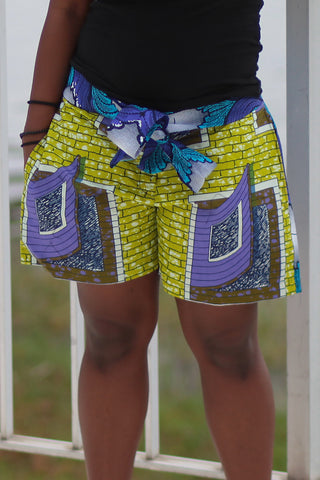African Print/Kitenge  Beach Shorts-Duo Prints (Blue/Purple Geometric Print )