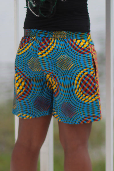 African Print/Kitenge  Beach Shorts-Duo Prints(Red/Blue Concentric Print) - Africas Closet