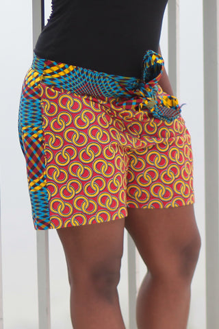 African Print/Kitenge  Beach Shorts-Duo Prints(Red/Blue Concentric Print)
